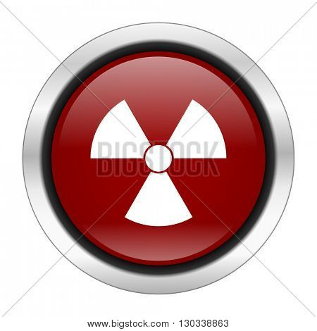 radiation icon, red round button isolated on white background, web design illustration