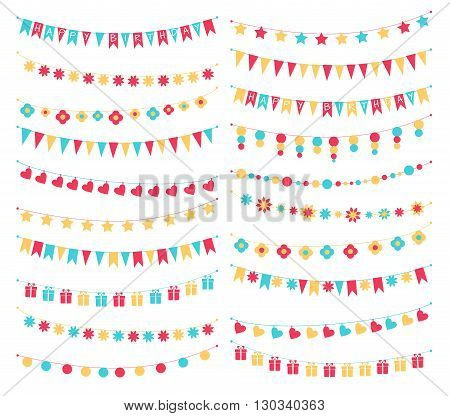 Vector set of birthday buntings and garlands. Cute colorful festive garlands with flags, stars, flowers, hearts