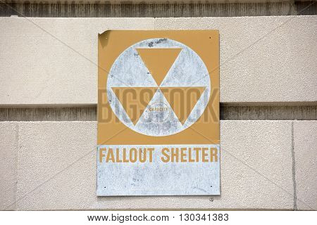 Fallout Shelter Sign On A Building
