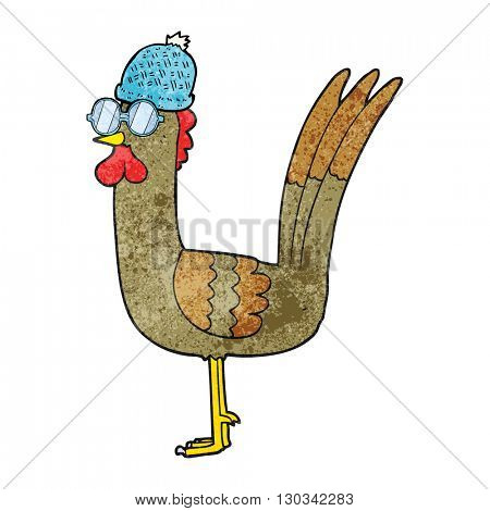 freehand textured cartoon chicken wearing spectacles and hat