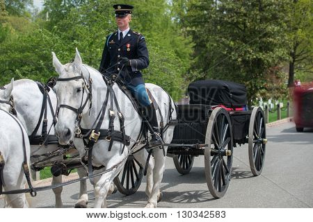Washington D.c., Usa - May, 2 2014 - Us Army Marine Funeral At Arlington Cemetery