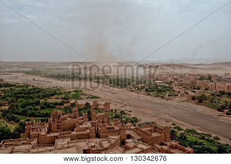 Sand Storm Coming To Ait Benhaddou Maroc