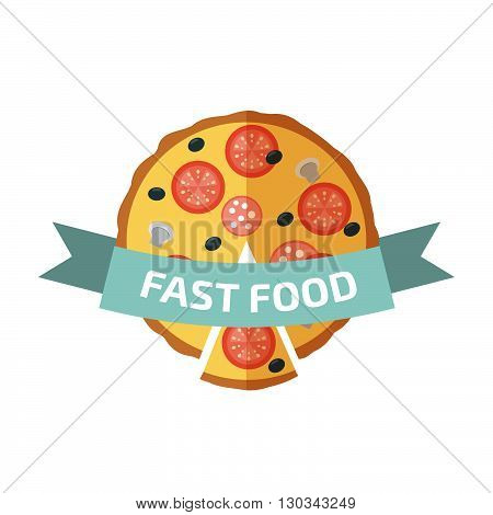 Pizza logo. Fast food. Stock vector. Vector illustration.