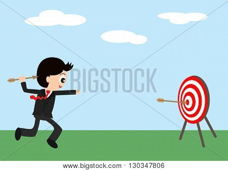 Business man holding dart aiming go to goals target (Bullseye), Goal target success business investment financial strategy education concept, vector