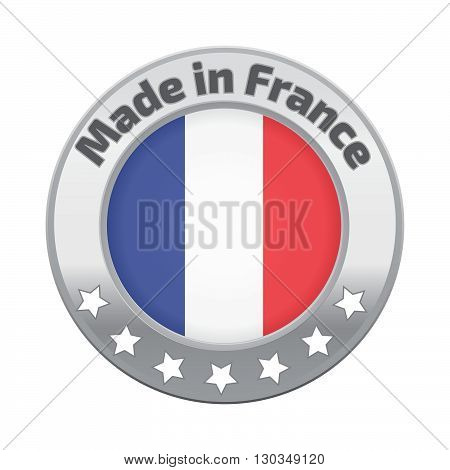 Made in France badge silver. Stock vector. Vector illustration.