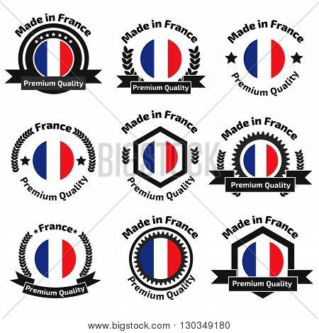Made in Fance badge set. Stock vector. Vector illustration.