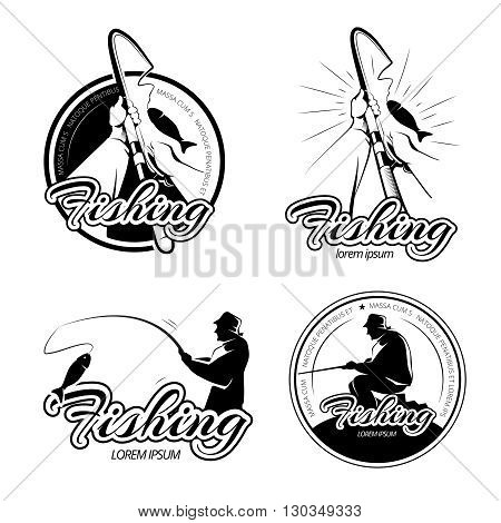 Vintage fishing vector logos, emblems, labels set. Fishing label, emblem fishing, fishing badge, fishing illustration