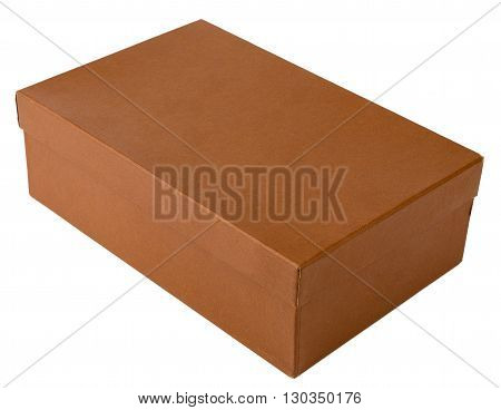 Brown shoe box isolated on white background