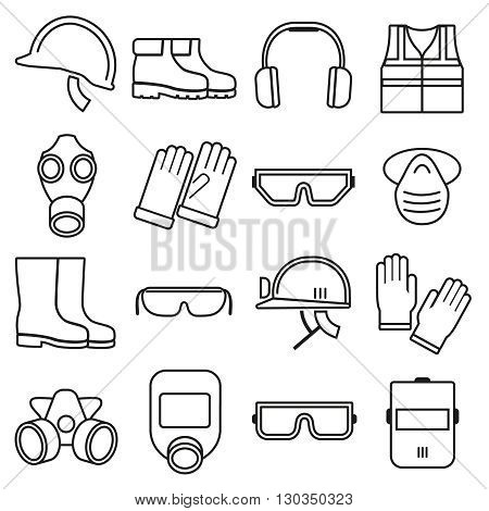 Linear job safety equipment vector icons set. Equipment safety, helmet safety, industry safety illustration