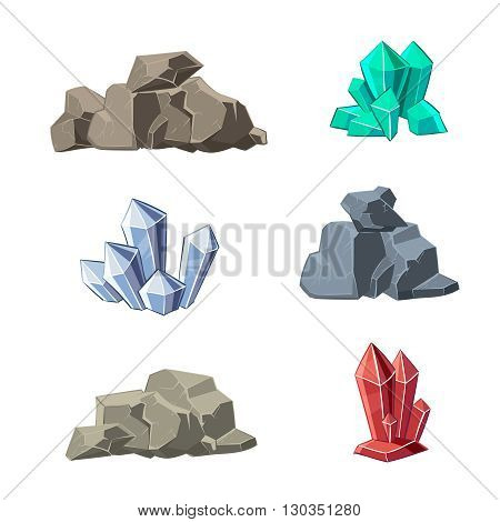 Cartoon minerals and stones vector set. Stone mineral, cartoon mineral stone, natural mineral stone, crystal mineral stone illustration