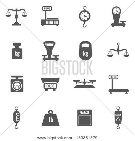 Scales, weighing, weight black vector icons set. Scale icon, balance scale measurement, tool scale set illustration