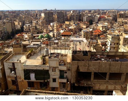Lebanese town. Densely populated city of Tripoli Lebanon.