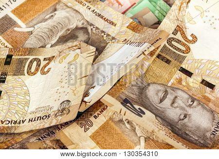 Scrambled Brown Twenty Rand Bank Note Background