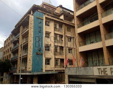 Beirut, Lebanon - January 04, 2016: Street view at Lebanon Beirut. Pacific Hotel, Beirut, Lebanon