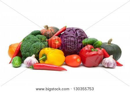 fresh vegetables isolated on white background. horizontal photo.