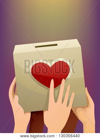 Illustration of People Carrying a Donation Box