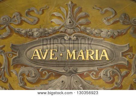 Ave Maria Fresco On Rome Church Ceiling