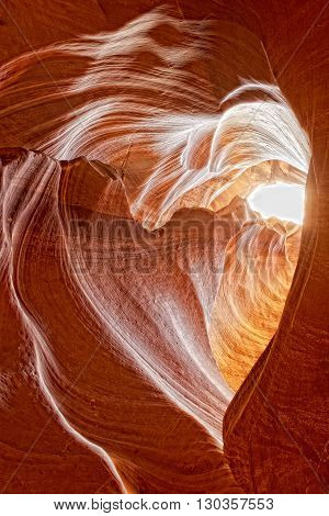 Love Heart Shape Antelope Canyon View With Light Rays