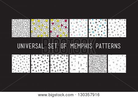 Set Of Universal Vector Fashion Geometric Seamless Patterns