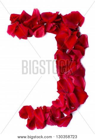 Alphabet J Made From Red Rose