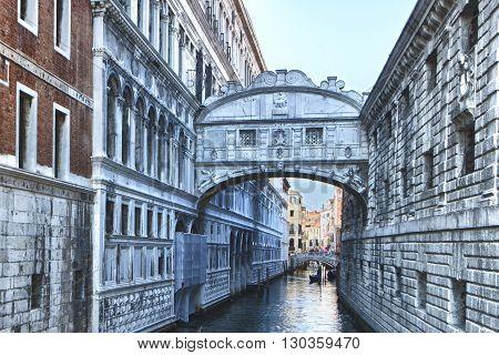 Venice ponte dei sospiri view detail close up