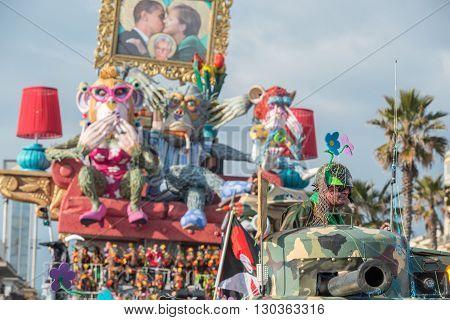 Viareggio, Italy - February 17, 2013 - Carnival Show Parade On Town Street
