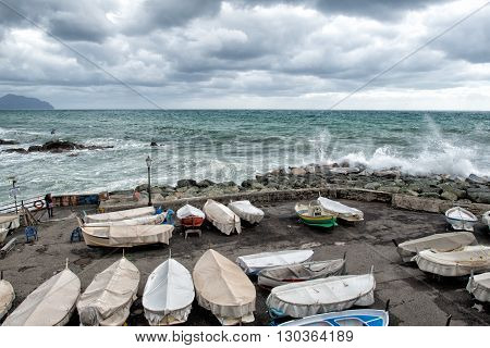 Fishing Boats Covered For Sea In Tempest In Genoa, Italy