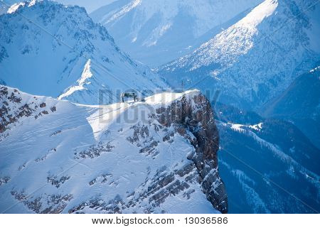 Peak With Ski Lift In The Zugspitze, Germany