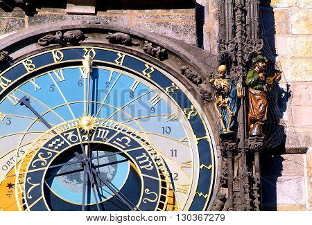 Astronomical Clock (Orloj) in the Old Town of Prague (Czech Republic)