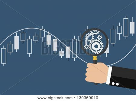 Hand holding magnifying glass with candle stick graph chart of stock market. vector illustration