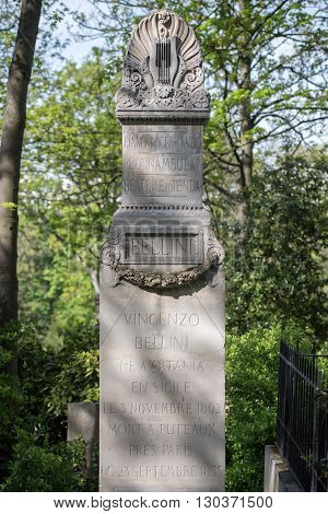 Paris, France - May 2, 2016: Vincenzo Bellini Grave In Pere-lachaise Cemetery