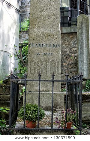 Paris, France - May 2, 2016: Champollion Grave In Pere-lachaise Cemetery Homeopaty Founder