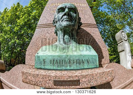 Paris, France - May 2, 2016: Hahnemann Grave In Pere-lachaise Cemetery Homeopaty Founder