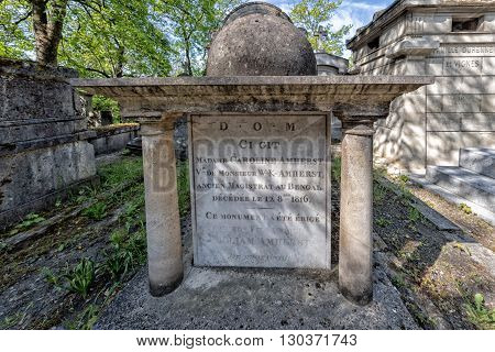 Paris, France - May 2, 2016: Ci Git Grave In Pere-lachaise Cemetery Homeopaty Founder