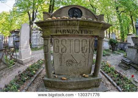 Paris, France - May 2, 2016:  Parmentier Potato Importer From Usa To Europe Grave In Pere-lachaise C