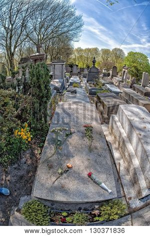 Paris, France - May 2, 2016: Modigliani Grave In Pere-lachaise Cemetery Homeopaty Founder