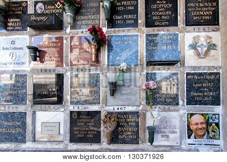 Paris, France - May 2, 2016:  Laurent Fignon Cycling French Champion Grave In Pere-lachaise Cemetery