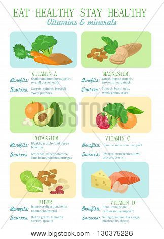 Eat health stay healthy infographic.  Vitamins and minerals for healthy lifestyle. Benefits and sources. Colorful vector illustration