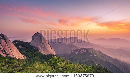 Sunrise Of Baegundae Peak, Bukhansan Mountains In Seoul, South Korea.