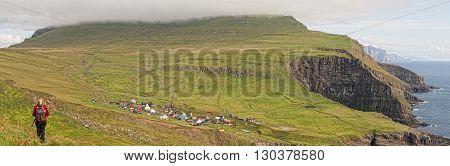 Faer Oer Danmark Mykines Village Island Cliffs Panorama