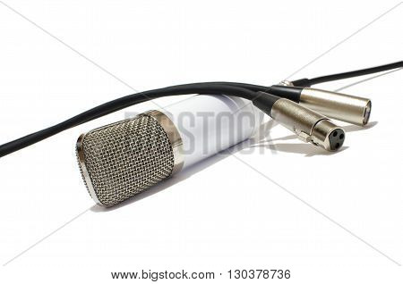 microphone, switching on a white background, cords