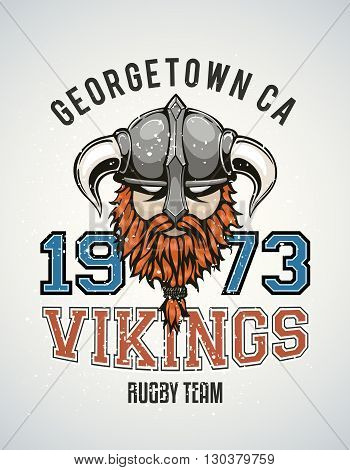 Cool and tough sports team vector logo with a brutal viking warrior with a horned helmet and a red beard. Sample text goes around the badge.