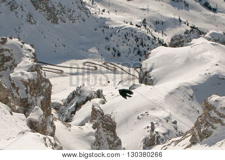 A Crow On Dolomites Background