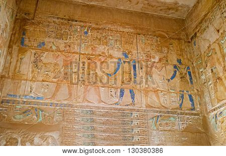 LUXOR EGYPT - OCTOBER 7 2014: The Karnak Temple complex is the best place to enjoy ancient art on October 7 in Luxor.