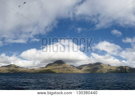 Far Oer Danmark Vestmanna Cliffs Panorama landscape with clouds