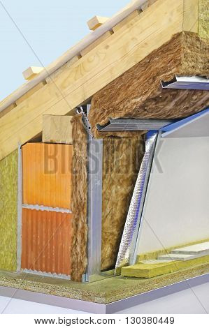 House Roof and Wall Insulation Material Cross Section