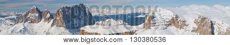 Dolomites Pordoi Mountain Alps Huge View In Wonderful Lght