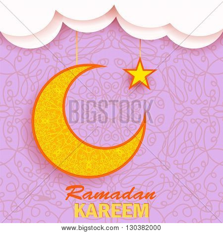 Ramadan Greetings Background. Ramadan Kareem Means Ramadan the Generous Month. Ramadan Greeting Card. Yellow Moon and Yellow Star on Pink Ornamental Background