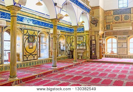 ACRE ISRAEL - FEBRUARY 20 2016: The marble and granite elements decorate interior of Al-Jazzar mosque on February 20 in Acre.