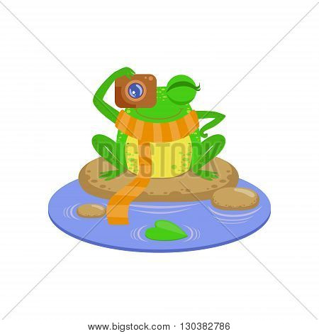 Photographer Cartoon Frog Character Flat Bright Color Vector Sticker Isolated On White Background In Simple Childish Style